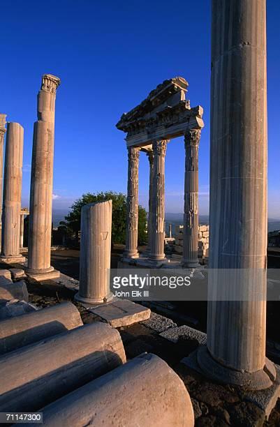 acropolis, ancient pergamum temple of trajan, from greek and roman eras, bergama, turkey - ベルガマ ストックフォトと画像