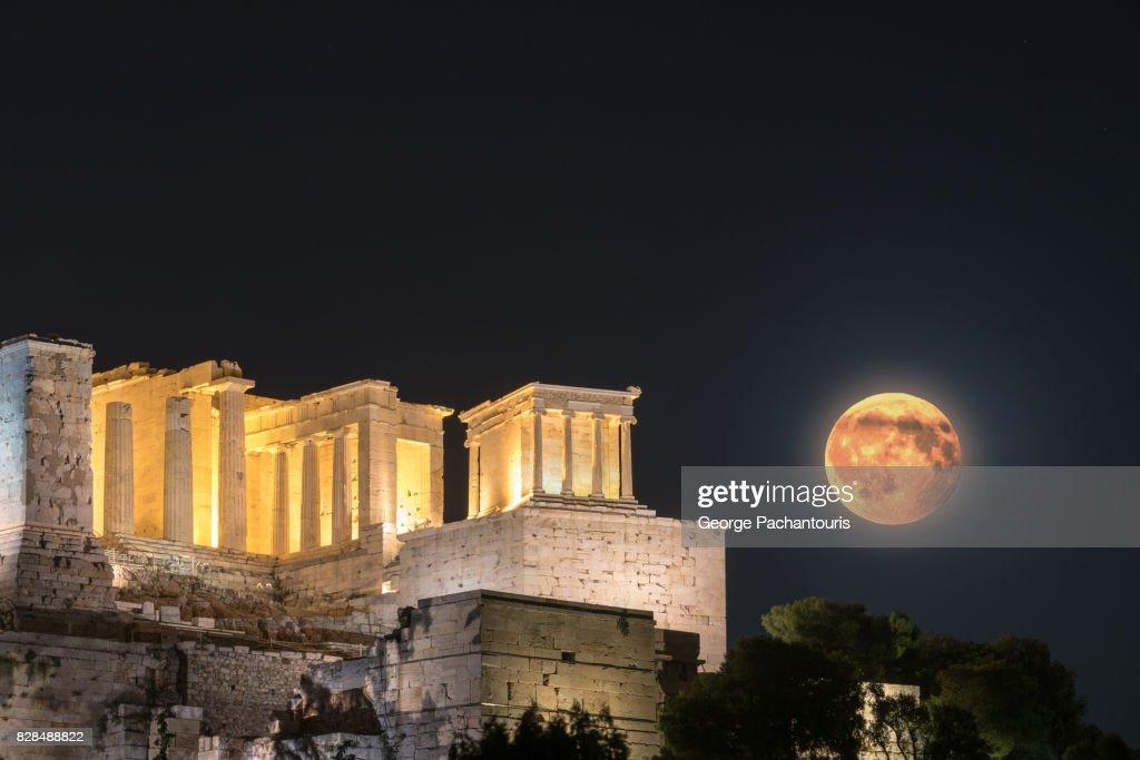 Acropolis and super moon, Athens, Greece : Stock Photo