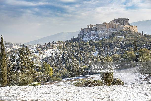 Acropolis covered in snow after rare snowfall Athens, Greece