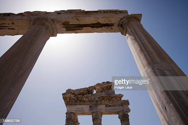 acropolis in ancient pergamum (now bergama). - bergama stock pictures, royalty-free photos & images