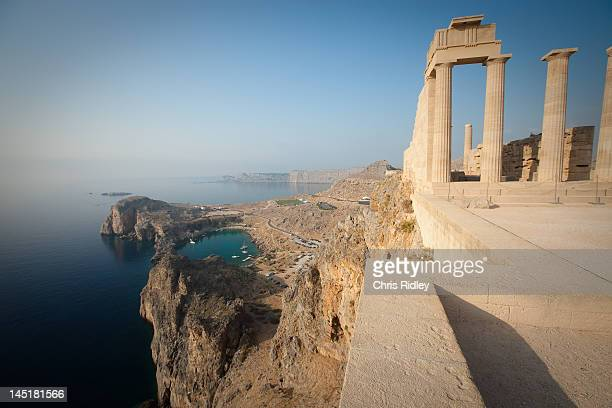 acropolis of lindos - lindos stock photos and pictures