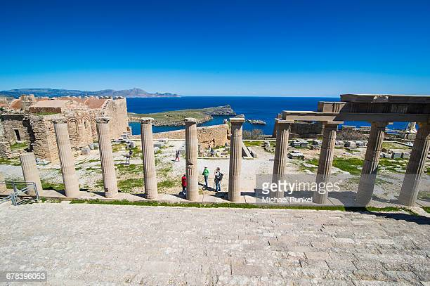 acropolis of lindos, rhodes, dodecanese islands, greek islands, greece, europe - lindos stock photos and pictures
