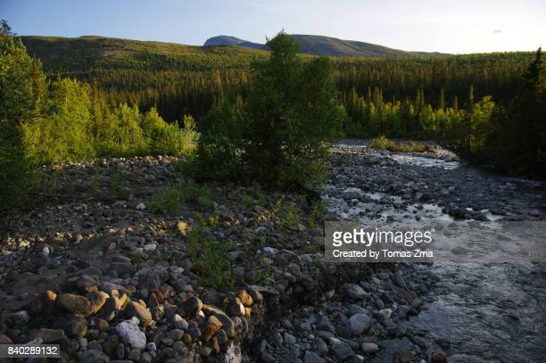 across a tributary river of tarraätno - norrbotten province stock photos and pictures
