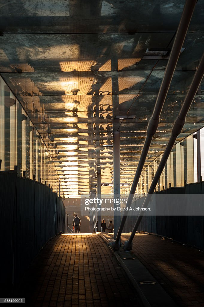 Across the Bridge-Sunset. : Stock Photo