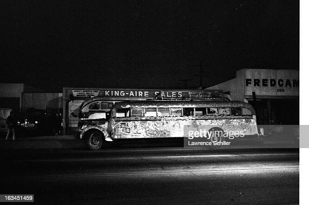 Across the street from Canter's Delicatessen nighttime view of the handpainted school bus used by the Merry Pranksters Los Angeles California 1966...