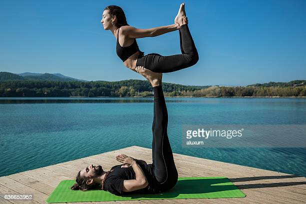 Acroyoga bow pose