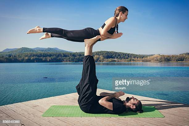 Acroyoga frontbird pose