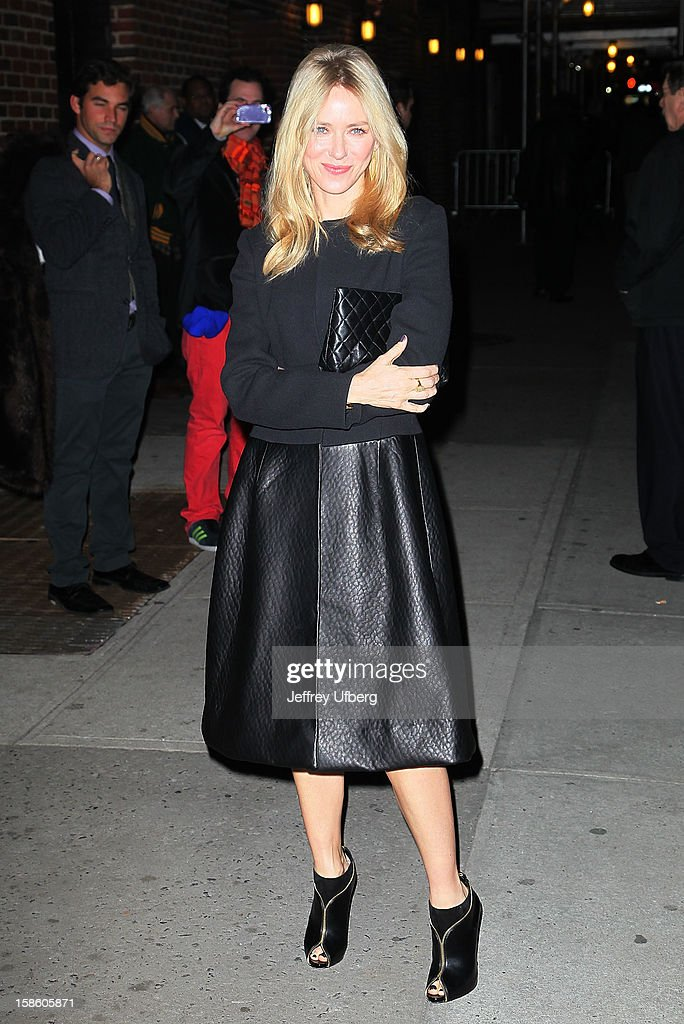 Acrtess Naomi Watts arrives to 'Late Show with David Letterman' at Ed Sullivan Theater on December 20, 2012 in New York City.