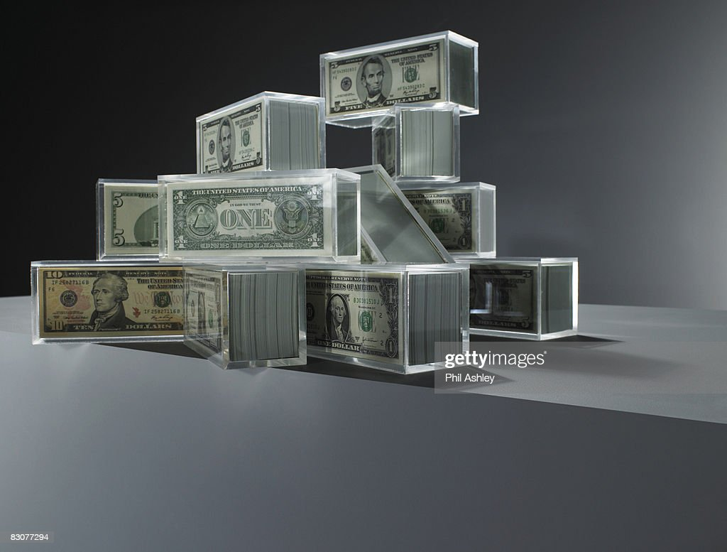 Acrylic blocks with dollar notes inside : Foto de stock