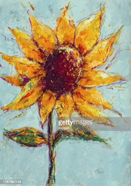 acrylic painting a single yellow sunflower with green leaves on white gray textured background.  fine art acrylic painting on paper - art and craft product stock pictures, royalty-free photos & images