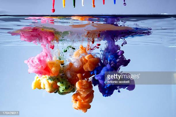 acrylic paints in water - mixing stock pictures, royalty-free photos & images