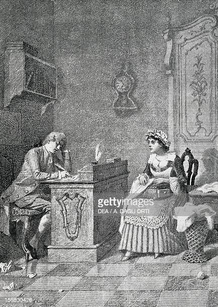 Act I Scene I from the comedy Lindoro's Jealousy by Carlo Goldoni engraving from 1888 by Giacomo Mantegazza Milan Biblioteca Nazionale Braidense
