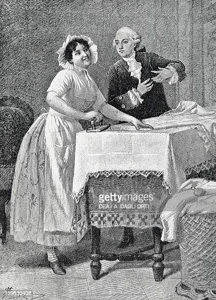 Act III Scene VI from the comedy The mistress of the inn by Carlo Goldoni engraving from 1888 by Giacomo Mantegazza Milan Biblioteca Nazionale...