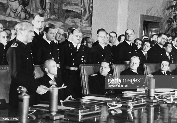 Act of state after the signing of the Anti-Comintern Pact in Berlin, Ramon Serrano, Foreign Minister of Spain reading a declaration of his...
