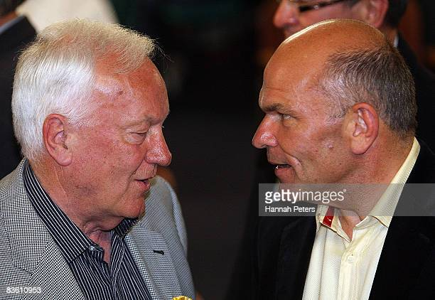 Act Party list member Roger Douglas talks with Act Party Leader Rodney Hide at the Orakei RSA Club during the New Zealand General Election November 9...