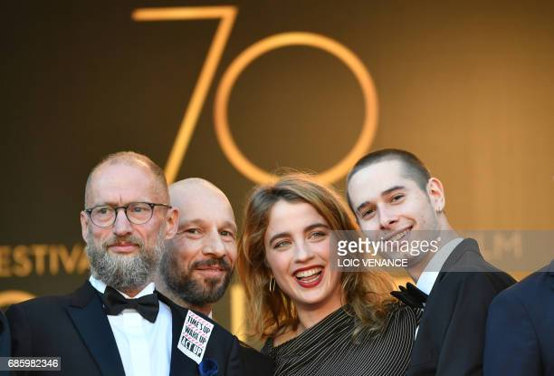 Act Up cofounder Didier Lestrade French actor JeanFrancois Auguste French actress Adele Haenel and French actor Ariel Borenstein pose as they arrive...