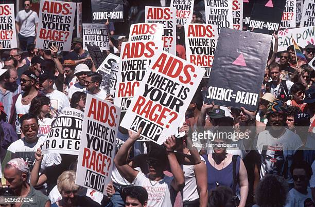 Act Up demonstrates for an AIDS cure at the 25th Annual Gay and Lesbian Parade New York New York June 26 1994