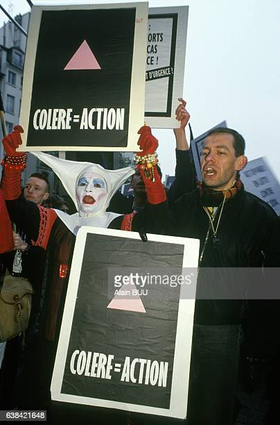Act Up demonstration at the Trocadéro on Aids day in Paris France on December 1 1991