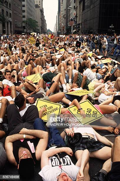 'Act Up' stages a sit down on 5th Avenue during the Lesbian and Gay Pride Parade The protesters demanded greater AIDS funding changes in the CDC...