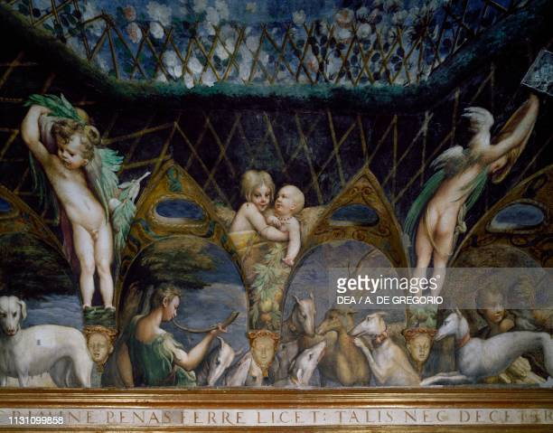 Actaeon hunted and attacked by dogs Myth of Diana and Actaeon ca 1524 by Francesco Mazzola known as Parmigianino fresco west side of the Room of...