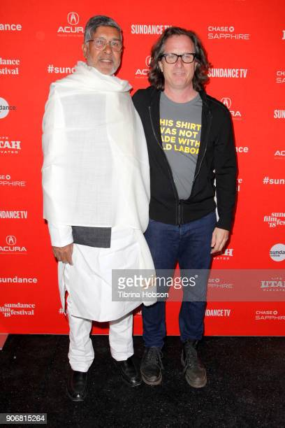 Actavist Kailash Satyarthi and director Davis Guggenheim attend the KAILASH Premiere during the 2018 Sundance Film Festival at The Marc Theatre on...