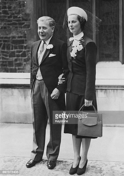 Actctic explorer Sir George Binney with Evelyn Fane after their wedding at the Savoy Chapel London 7th May 1946
