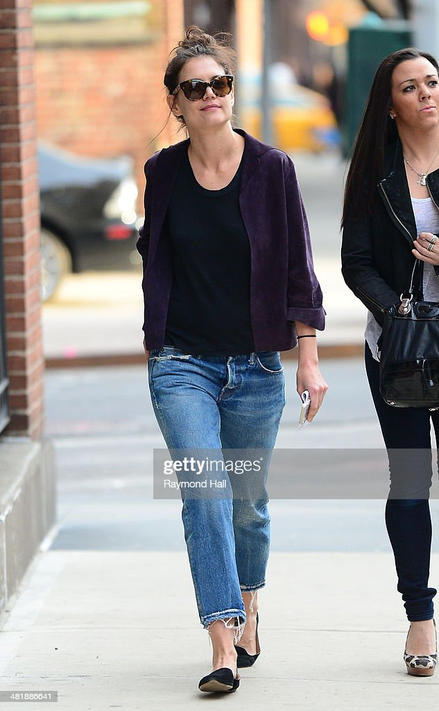 Actess Katie Holmes is seen on the set of 'Dangerous Liaisons' on April 1, 2014 in New York City.