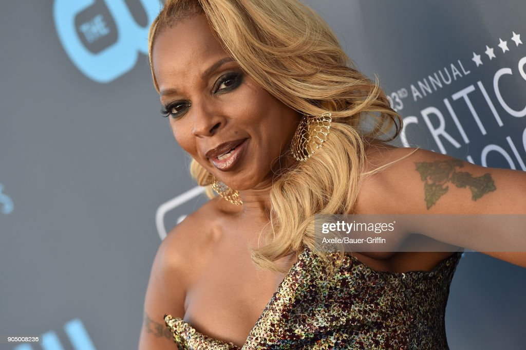 Actess/singer Mary J. Blige attends the 23rd Annual Critics' Choice Awards at Barker Hangar on January 11, 2018 in Santa Monica, California.
