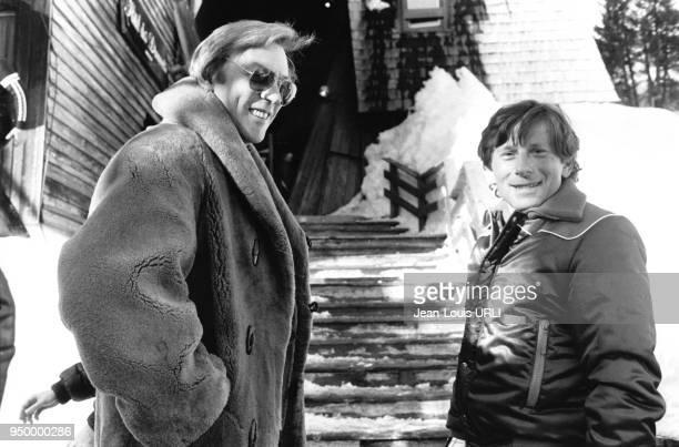 L'acteur Donald Sutherland et le réalisateur Roman Polanski au 8ème Festival du film de science fiction en janvier 1980 à Avoriaz France