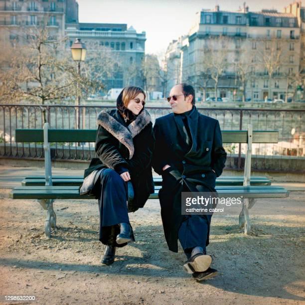 Acteur français Jean-Pierre Bacri avec la comédienne française Agnès Jaoui près de Bastille à Paris.