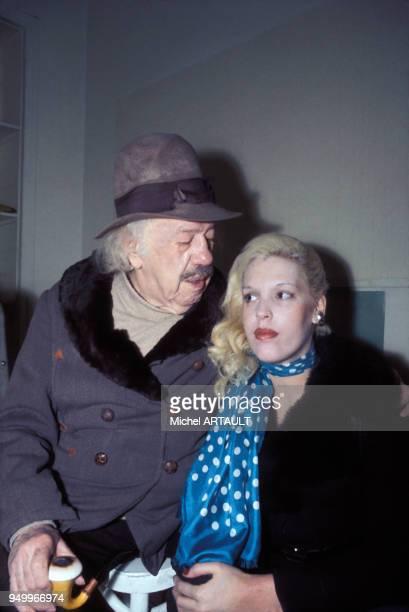 L'acteur français Michel Simon et sa femme Karen Nielsen en février 1975 france