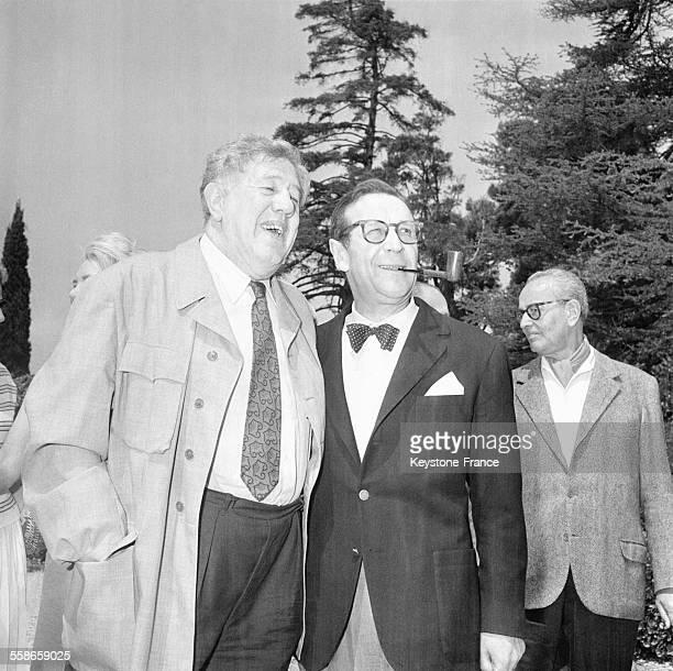 Acteur Michel Simon et le président du jury Geoges Simenon au XIII ème festival de Cannes le 11 mais 1960 à Cannes, France.