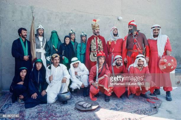 Acteurs en costume de la pèce de théâtre sur la fête musulmane de l'Achoura en février 1993 à Téhéran Iran