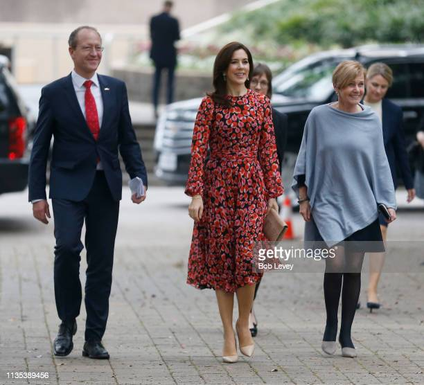 Acting Ambassador Henrik Hahn Bramsen, Mary, Crown Princess of Denmark and Minister of Culture Mette Bock arrive at Houston City Hall to meet Mayor...