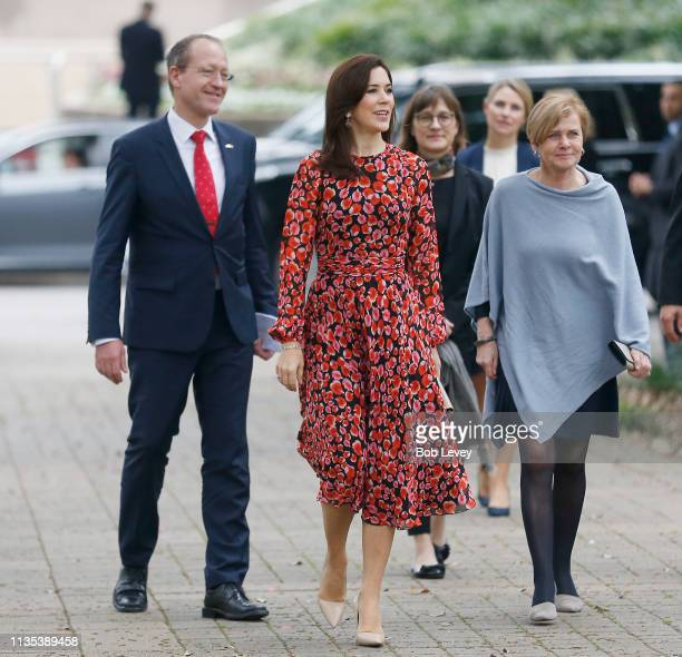 Acting Ambassador Henrik Hahn Bramsen Mary Crown Princess of Denmark and Minister of Culture Mette Bock arrive at Houston City Hall to meet Mayor...