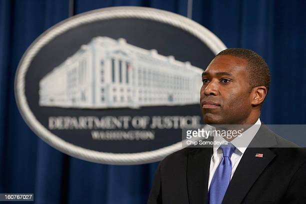 Acting Associate Attorney General Tony West speaks during a news conference with attorneys general from eight states and the District of Columbia at...