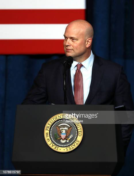 Acting Attorney General Matthew Whitaker addresses the Project Safe Neighborhoods National Conference on December 07 2018 in Kansas City Missouri US...