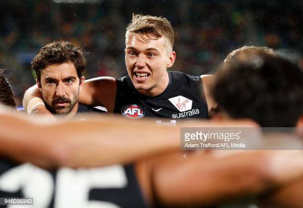 Acting captain Patrick Cripps of the Blues addresses his teammates before the match in the absence of Marc Murphy of the Blues who was a late out...