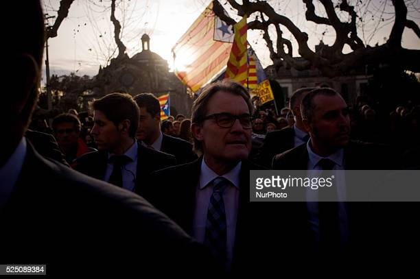 Acting catalan president ARTUR MAS arrives to the Catalan Parliament for the investiture of a new catalan president on 10 January 2016 in Barcelona...