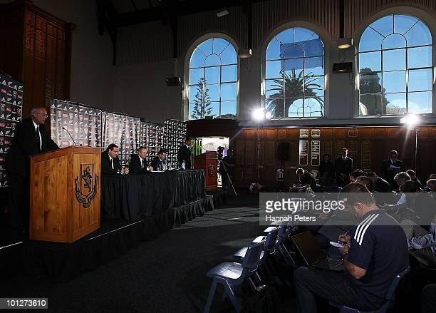 Acting Chairman Mike Eagle announces the All Blacks Team at Mount Albert Grammar School on May 30, 2010 in Auckland, New Zealand.