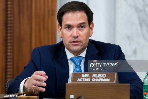 Acting Chairman Sen Marco Rubio RFla conducts the Senate Select Intelligence Committee confirmation hearing for Peter Michael Thomson nominee to be...