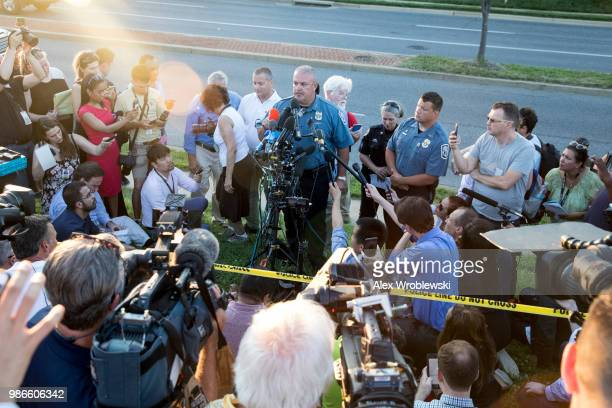 Acting chief of police William Krampf speaks at a press conference about the CapitalGazette shooting on June 28 2018 in Annapolis Maryland At least...