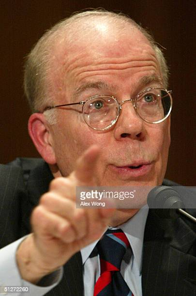 Acting CIA Director John McLaughlin testifies during a hearing before the Senate Governmental Affairs Committee September 8 2004 on Capitol Hill in...