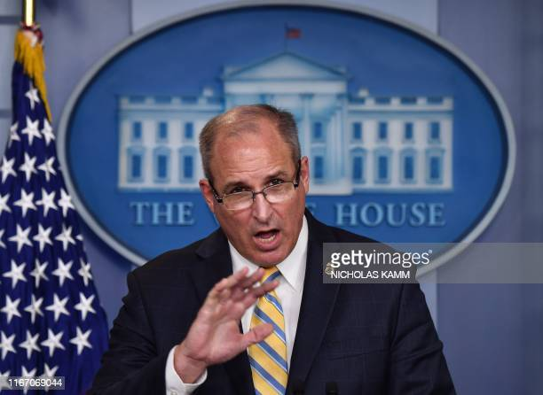 US Acting Commissioner of Customs and Border Protection Mark Morgan speaks during a briefing at the White House in Washington DC on September 9 2019