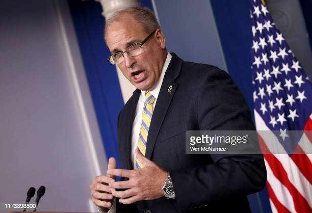 Acting Commissioner of Customs and Border Protection Mark Morgan speaks during a briefing at the White House September 9 2019 in Washington DC Morgan...