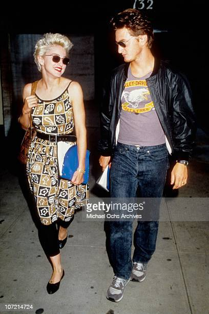 Acting couple Madonna and Sean Penn leave rehearsals for their play 'Goose and Tom Tom' in August 1986 in New York City New York