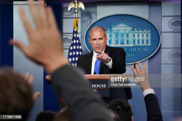 Acting Customs and Border Protection Commissioner Mark Morgan talks to reporters in the James Brady Press Briefing Room at the White House October 08...