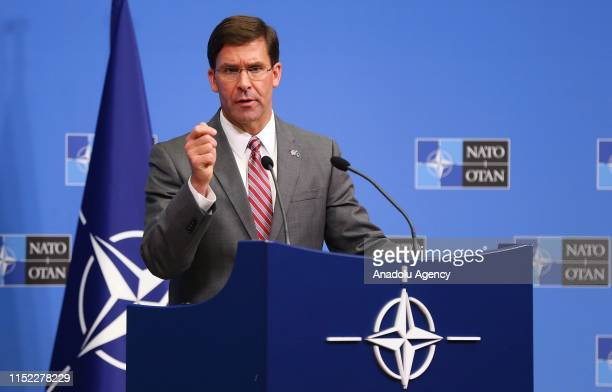 Acting Defense chief of United States Mark Esper holds a press conference within NATO Defence Ministers Meeting in Brussels Belgium on June 27 2019