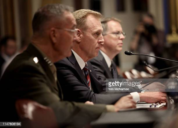 Acting Defense Secretary Patrick Shanahan testifies before the Senate Appropriations Committee May 8 2019 in Washington DC Shanahan and Joint Chiefs...