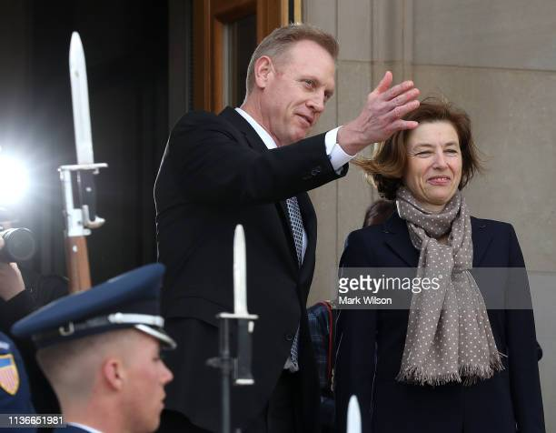 Acting Defense Secretary Patrick Shanahan welcomes French Armed Forces Minister Florence Parly during a honor cordon at the Pentagon on March 18 2019...
